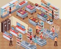 Supermarket Isometric Illustration Royalty Free Stock Image