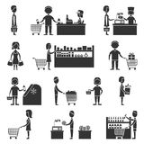 Supermarket People Set Royalty Free Stock Image