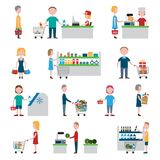 Supermarket People Set Royalty Free Stock Photo