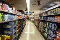 Supermarket prepared for Christmas shopping Stock Image