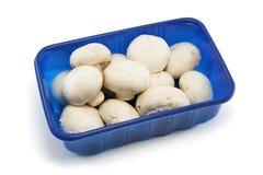 Supermarket Punnet of Mushrooms. Blue plastic punnet of ordinary white mushrooms from a supermarket Stock Images