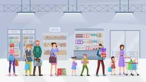Supermarket queue flat vector illustration. Happy customers, buyers standing in line cartoon characters. Cheerful adult shoppers, children enjoying purchasing royalty free illustration