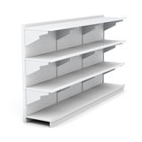 Supermarket rack with empty shelves  on white background Stock Photo