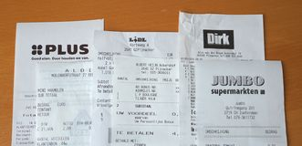 Free Supermarket Receipts From Several Dutch Grocery Stores Royalty Free Stock Photos - 146696738