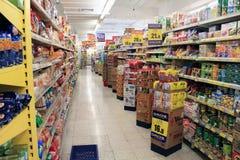 Supermarket refrigerated shelves royalty free stock image
