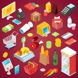 Supermarket robi zakupy isometric 3D set Obrazy Royalty Free