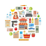 Supermarket Round Composition Royalty Free Stock Photo