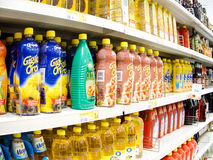 Supermarket rows. Closeup of industrial products in a supermarket Royalty Free Stock Images