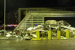 Supermarket's roof collapsed in Riga, Latvia, Europe Royalty Free Stock Photo