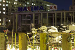 Supermarket's roof collapsed in Riga, Latvia, Europe Stock Images