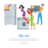 Supermarket Sale Banner. Household Appliances Stock Image