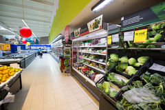 Supermarket sales area Stock Images