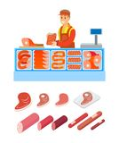 Supermarket Salesperson Butcher Department Vector. Supermarket salesperson of butcher department isolated set of products vector. Pork and beef, lamb and vector illustration