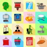 Supermarket service icons set, flat style Royalty Free Stock Photo