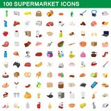 100 supermarket set, cartoon style. 100 supermarket set in cartoon style for any design illustration royalty free illustration