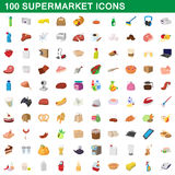 100 supermarket set, cartoon style. 100 supermarket set in cartoon style for any design vector illustration Stock Illustration