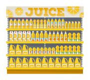 Supermarket shelf display with orange juice. Grocery shop. Retail store template Royalty Free Illustration