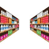 Supermarket, shelf with food and drinks package boxes. Price tag on racks. Illustration with flat and solid color design Stock Image