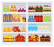 Supermarket shelf with goods, fruits and vegetables, drinks. Commercial refrigerator full of dairy products. Flat style stock illustration