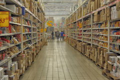 Supermarket shelf Stock Photography