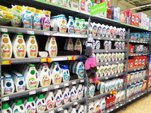 Supermarket shelf UK. Cleaning products on shelf in ASDA supermarket UK Royalty Free Stock Image