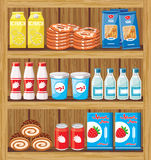 Supermarket. Shelfs with food Stock Photo