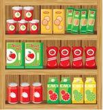 Supermarket. Shelfs with food. stock illustration