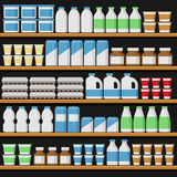 Supermarket. Shelfs with Milk Products. Vector Royalty Free Stock Photography