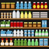 Supermarket. Shelfs Shelves with Products and Drinks. Vector. Illustration Stock Photography