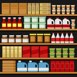 Supermarket. Shelfs Shelves with Products. Vector Royalty Free Stock Photography