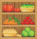 Supermarket. Shelfs and vegetables Royalty Free Stock Images