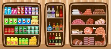 Supermarket. Shelfs z jedzeniem. Obrazy Royalty Free