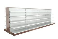 Supermarket shelves. Row of supermarket shelves. 3D render Royalty Free Stock Images