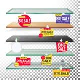 Supermarket Shelves, Advertising Wobblers Vector. Retail Sticker Concept. Best Offer. Discount Sticker. Sale Banners vector illustration