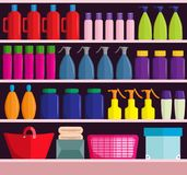 Supermarket shelves with assortment of products. Supermarket shelves with various assortment of products, vector illustration Royalty Free Stock Photography