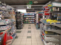 The supermarket shelves Stock Photo