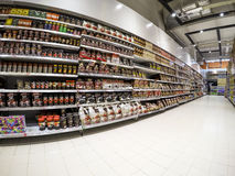 Supermarket Shelves stock images