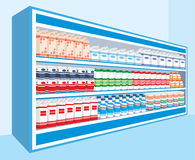 Supermarket shelves with dairy products Stock Images