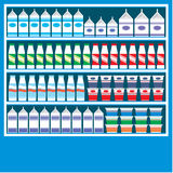Supermarket shelves with dairy products Royalty Free Stock Photos