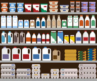 Supermarket shelves with dairy products. Vector background Royalty Free Stock Photography