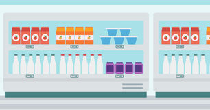 Supermarket shelves with dairy products. Stock Images