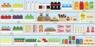 Supermarket shelves with food and drinks, fruits, vegetables, bread, milk and grocery, vector illustration. Supermarket shelves with food and drinks, fruits vector illustration