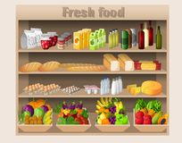 Supermarket shelves food and drinks Royalty Free Stock Image