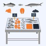 Supermarket shelves with fresh fish. Supermarket shelves with fresh fish on ice cubes. Vector illustration royalty free illustration