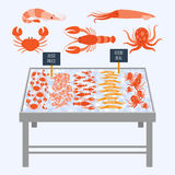 Supermarket shelves with fresh seafood. Supermarket shelves with fresh seafood on ice cubes. Vector illustration Stock Photography
