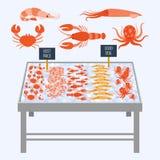 Supermarket shelves with fresh seafood. Supermarket shelves with fresh seafood on ice cubes. Vector illustration stock photography
