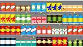 Supermarket shelves with garlands Royalty Free Stock Photos