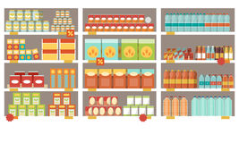 Supermarket shelves. Grocery items on the supermarket shelves and offers, shopping and retail concept royalty free illustration