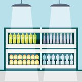 Supermarket shelves icon. Supermarket shelves with products icon colorful design vector illustration Royalty Free Stock Images