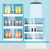 Supermarket shelves icon. Supermarket shelves with products icon colorful design vector illustration Stock Images